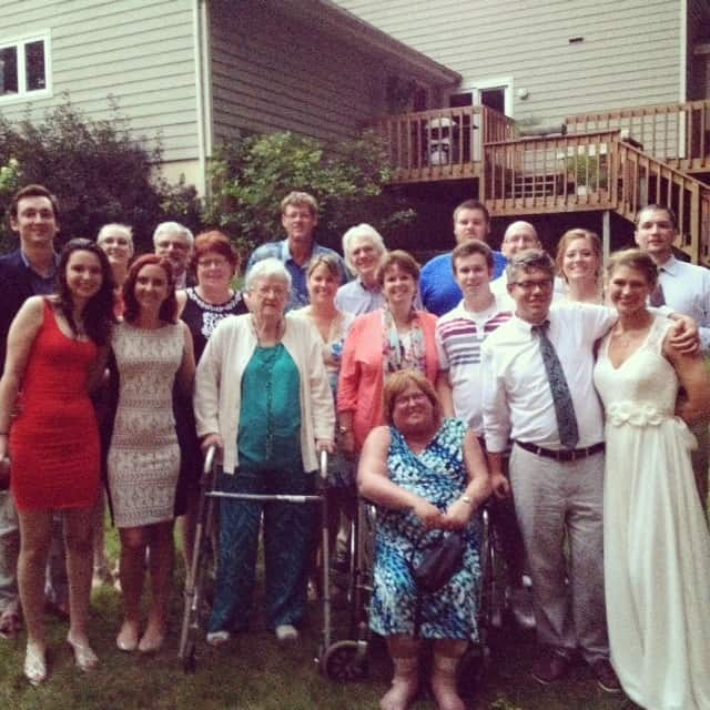 The Ehman family gathered at the wedding. The gorgeous woman in the wheel chair is my sis-in-law who is still bravely and beautifully battling stage four bone cancer.