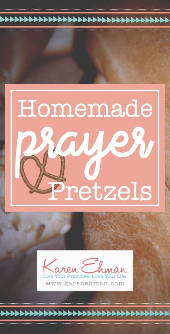 Homemade prayer pretzels to teach your children about prayer. Click here for recipe at karenehman.com.