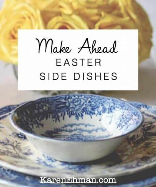 Make Ahead Easter Side Dishes at karenehman.com. Includes Grandma Shug's Mustard Sauce, Never-Fail Crescent Rolls, and Cornbread Pudding.
