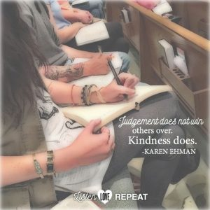 Judgement doesn't win others over. Kindness does. Karen Ehman in her newest book Listen, Love, Repeat: Other-Centered Living in a Self-Centered World.