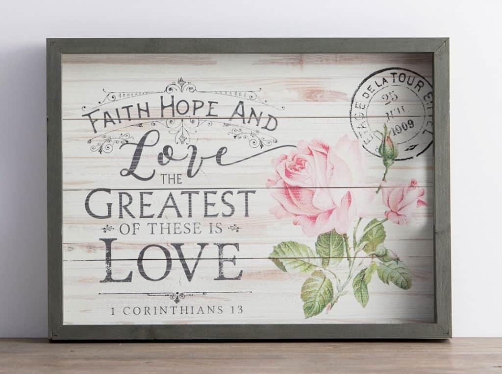 Dayspring faith, hope, love tray; 1 Corinthians 13; 10 Gifts She'll Love at karenehman.com.