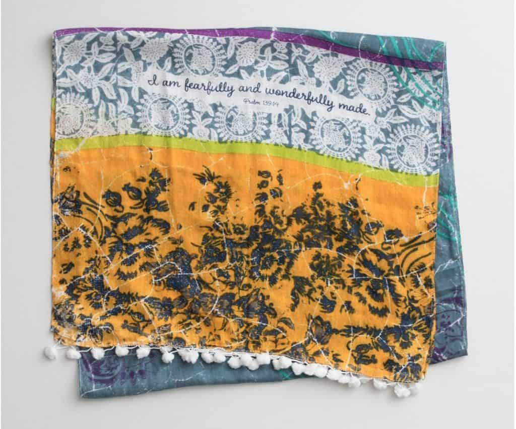 Fearfully and wonderfully made scarf, Psalm 139:14 by Dayspring.10 Gifts She'll Love at karenehman.com.