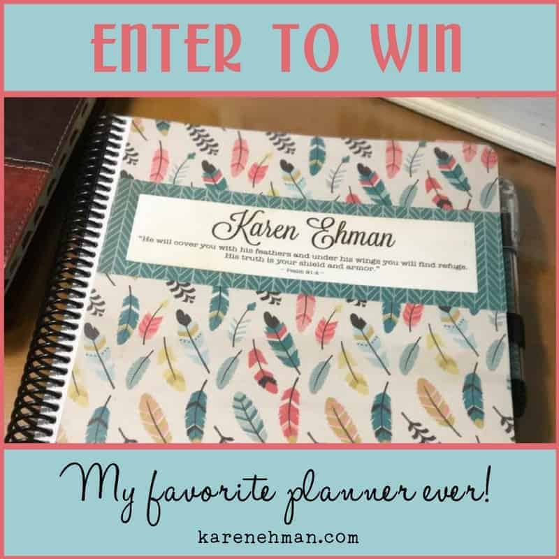 "Enter to win Karen Ehman's favorite ""Weekly Day Planner by itsjustemmy at Throne of Grace on Etsy."