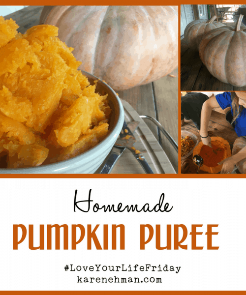 Homemade Pumpkin Puree by Amanda Wells for #LoveYourLifeFriday at karenehman.com.