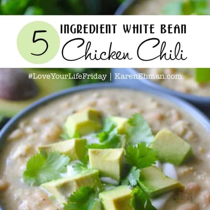 5 Ingredient White Bean Chicken Chili by @dashingdish for #LoveYourLifeFriday at karenehman.com.