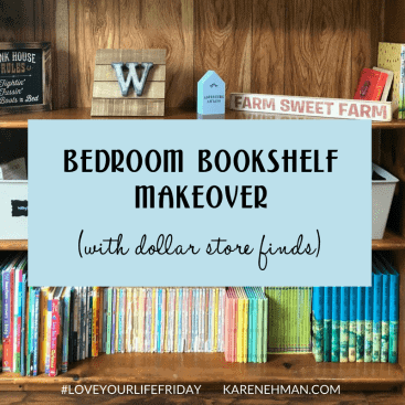 Bedroom Bookshelf Makeover with Dollar Store Finds for #LoveYourLifeFriday