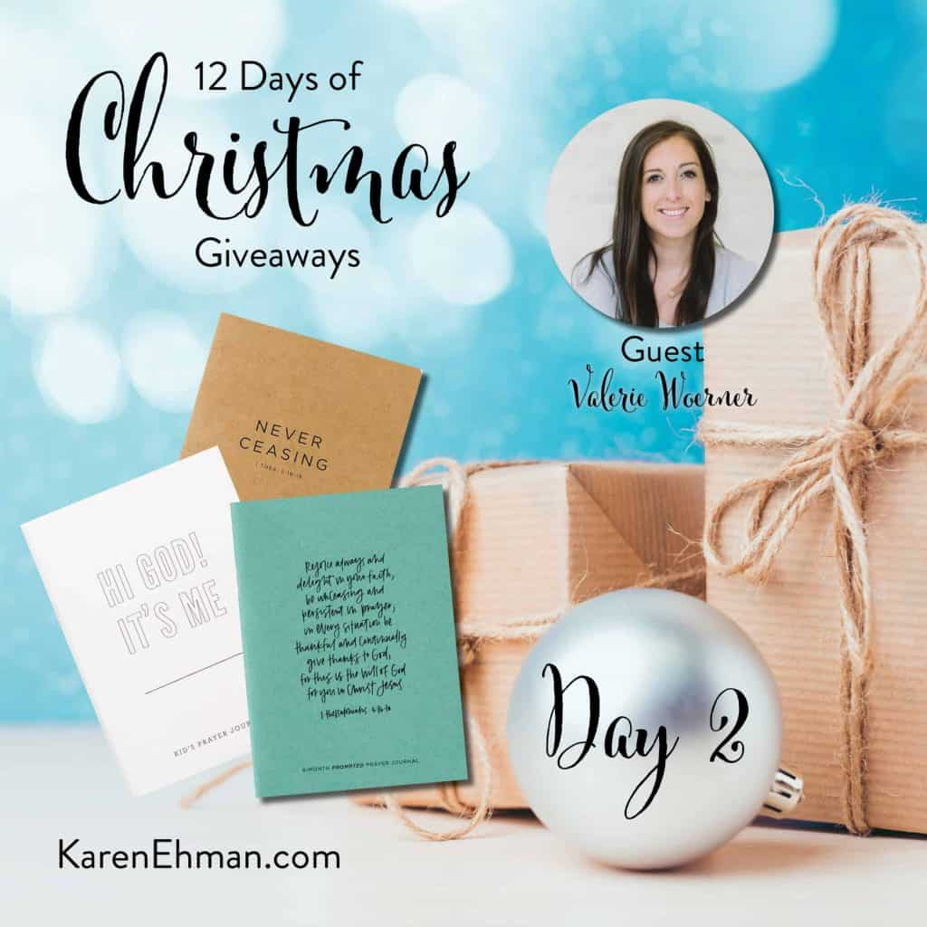 Enter to win Day 2 of 12 Days of Christmas Giveaways with Valerie Woerner at karenehman.com.