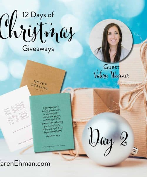 12 Days of Christmas Giveaways (2018) at karenehman.com with guest, Valerie Woerner.