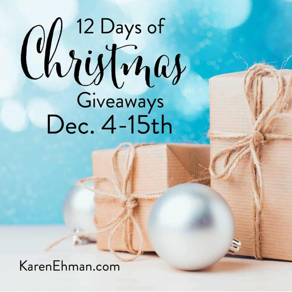 11th Annual 12 Days of Christmas Giveaways (2018) December 4-15 at karenehman.com.