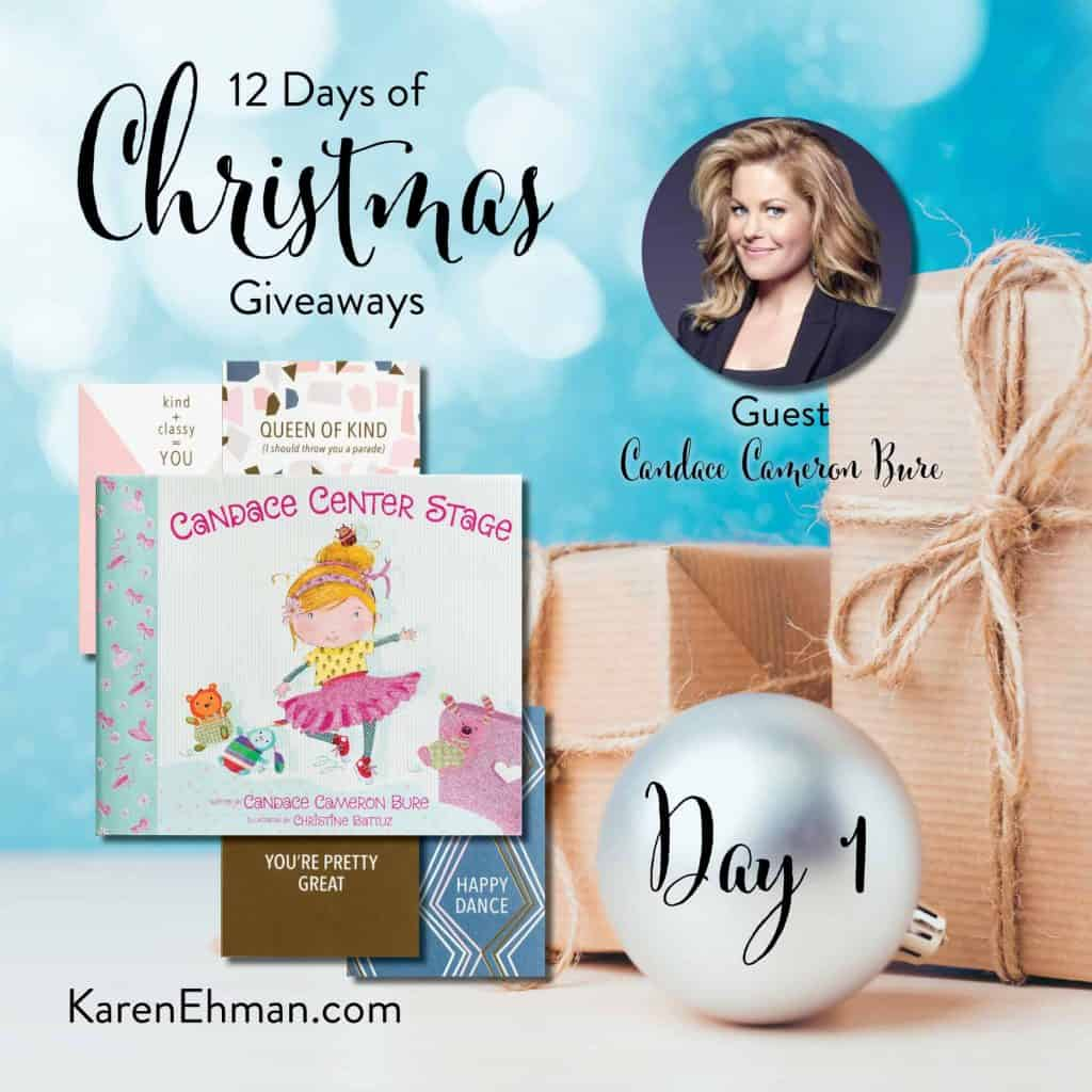 Enter to win Day 1 of 12 Days of Christmas Giveaways (2018) with Candace Cameron Bure at karenehman.com.