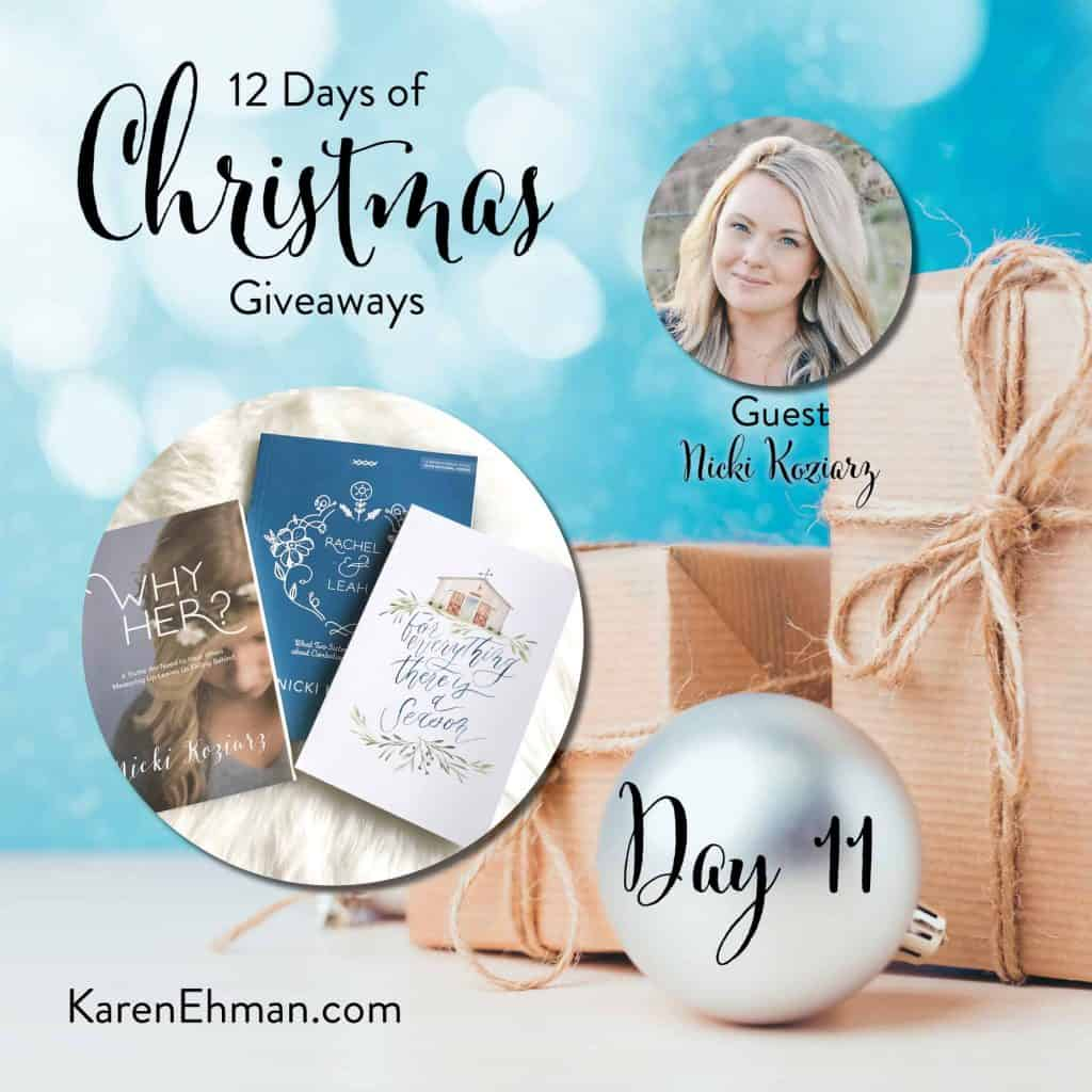 Day 11 of 12 Days of Christmas Giveaways (with Nicki Koziarz) at karenehman.com.