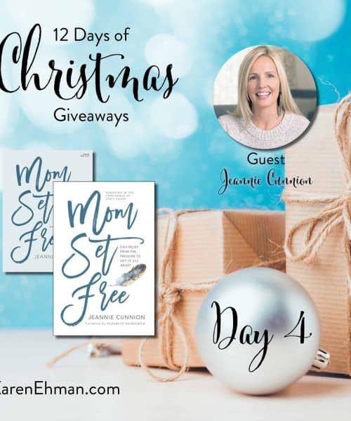 Enter to win Day 4 of 12 Days of Christmas Giveaways with Jeannie Cunnion at karenehman.com.