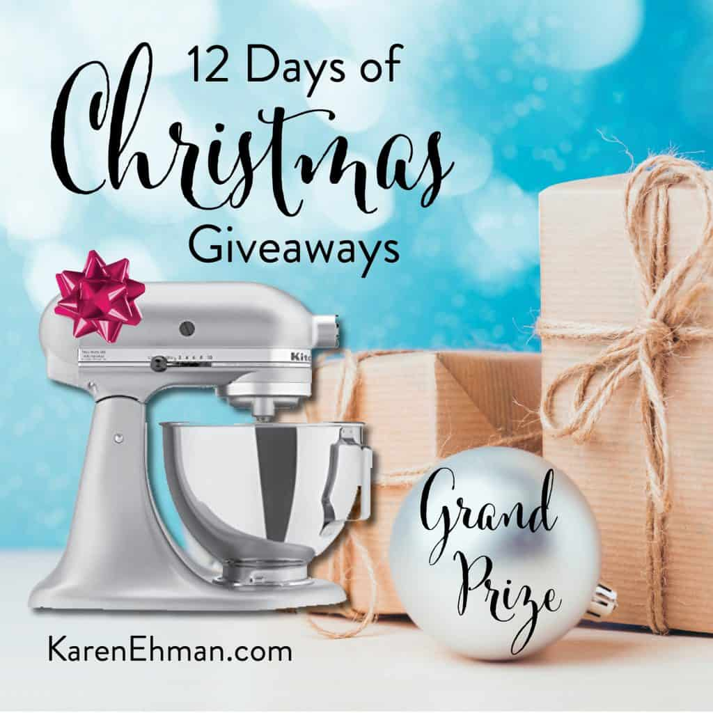 Grand Prize for 11th Annual 12 Days of Christmas Giveaways (2018) December 4-15 at karenehman.com.