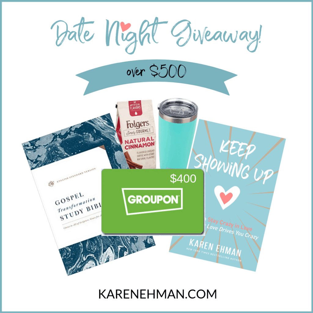 Date Night Giveaway worth over $500 up for grabs at karenehman.com to celebrate the release of her #keepshowingupbook on marriage.