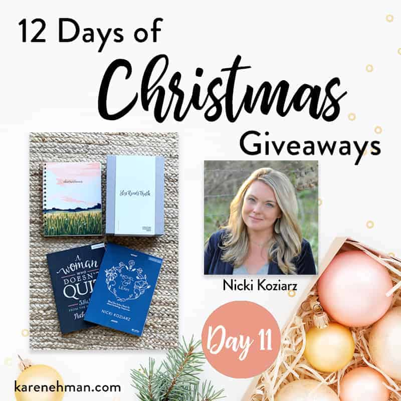 Nicki Koziarz \\ Day 11 of 12 Days of Christmas Giveaways at karenehman.com.