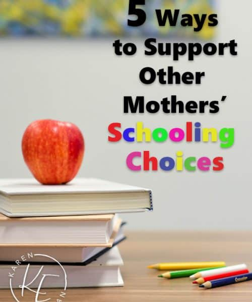 5 Ways to Support Others Mothers' Schooling choices at karenehman.com